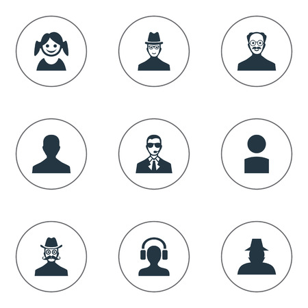 inspector: Vector Illustration Set Of Simple Human Icons. Elements Male With Headphone, Little Girl, Male User And Other Synonyms Detective, Male And Member. Illustration