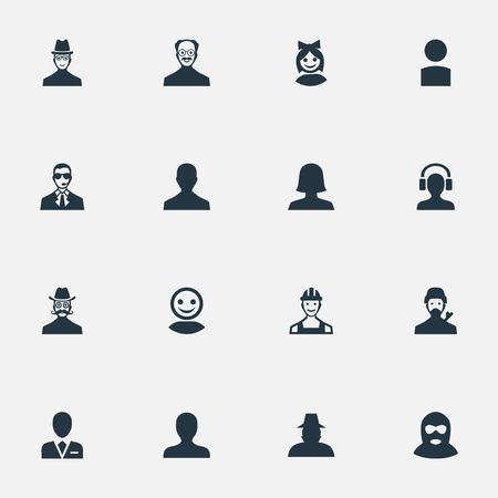 Vector Illustration Set d'icônes humaines simples. Ouvrier d'éléments, portrait, initié et autre ingénieur de synonymes, mystérieux et moustaches. Banque d'images - 74270054