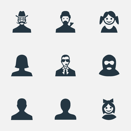 Vector Illustration Set Of Simple Avatar Icons. Elements Bodyguard, Girl Face, Little Girl And Other Synonyms Girl, Man And Face.
