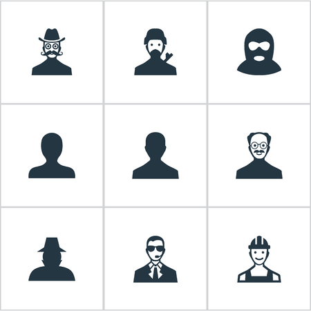 Vector Illustration Set d'icônes de membres simples. Elements Mystérieux Homme, Whiskers Man, Agent Et Autre Délinquant Synonymes, Sécurité Et Coupable. Banque d'images - 74270086