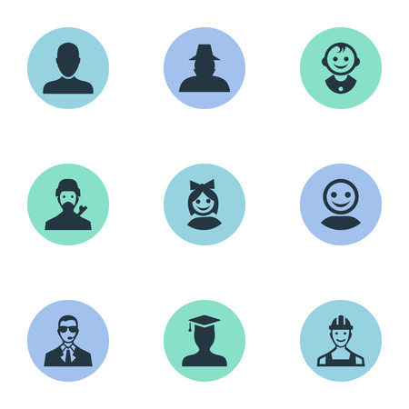 Vector Illustration Set Of Simple Human Icons. Elements Job Man, Mysterious Man, Young Shaver And Other Synonyms Little, User And Bodyguard.