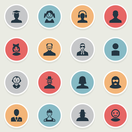 Vector Illustration Set Of Simple Avatar Icons. Elements Proletarian, Woman User, Girl Face And Other Synonyms Security, Graduate And Detective.