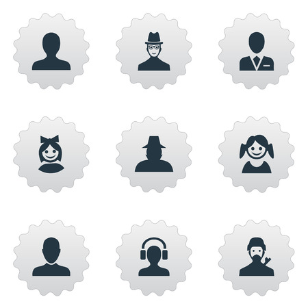 inspector: Vector Illustration Set Of Simple Member Icons. Elements Mysterious Man, Job Man, Agent And Other Synonyms Small, Inspector And Workman.