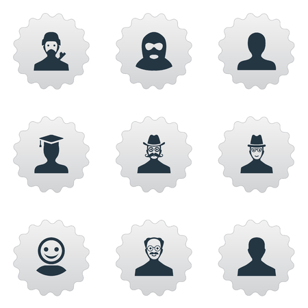Vector Illustration Set Of Simple Avatar Icons. Elements Male User, Portrait, Moustache Man And Other Synonyms Mustaches, Culprit And Hat.