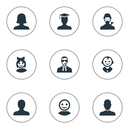 Vector Illustration Set Of Simple Avatar Icons. Elements Portrait, Mysterious Man, Young Shaver And Other Synonyms Little, User And Young.