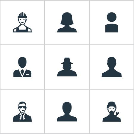 Illustration vectorielle définie d'icônes humaines simples. Elements Agent, Homme mystérieux, initié et autre agent de synonymes, profil et utilisateur. Banque d'images - 74270757
