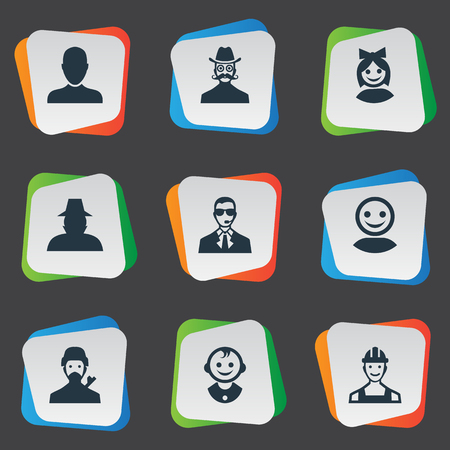inspector kid: Vector Illustration Set Of Simple Human Icons. Elements Moustache Man, Job Man, Girl Face And Other Synonyms Web, Whiskers And Bodyguard.