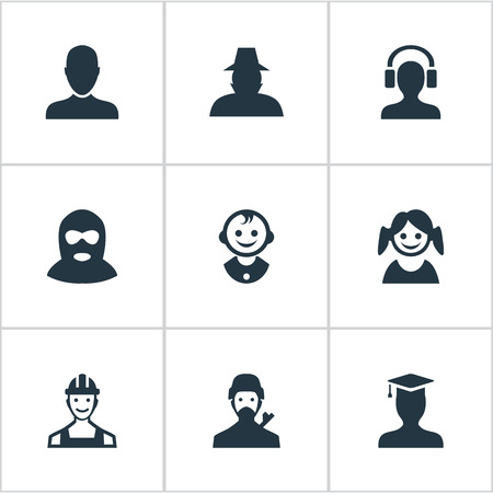 petty theft: Vector Illustration Set Of Simple Avatar Icons. Elements Postgraduate, Proletarian, Agent And Other Synonyms Graduate, Small And Business.