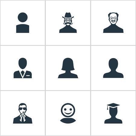 벡터 일러스트 레이 션 간단한 인간의 아이콘의 집합입니다. 요소 노동자, 대학원, 인터넷 프로필 및 기타 동의어 대학원, 대학원 및 내부자.