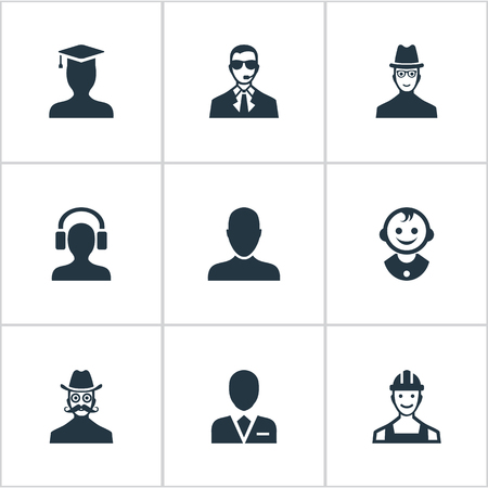 earpiece: Vector Illustration Set Of Simple Human Icons. Elements Postgraduate, Male With Headphone, Young Shaver And Other Synonyms Spy, Graduate And Headphone.