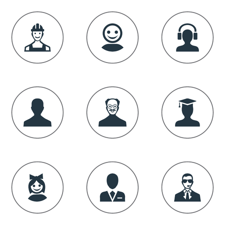 Vector Illustration Set Of Simple Avatar Icons. Elements Girl Face, Bodyguard, Proletarian And Other Synonyms Engineer, Graduate And Proletarian. Illustration