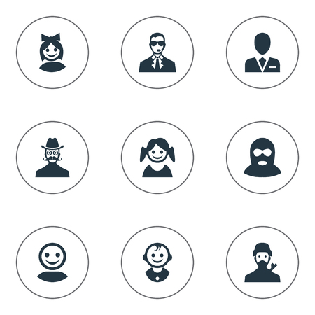 Vector Illustration Set Of Simple Member Icons. Elements Internet Profile, Little Girl, Young Shaver And Other Synonyms Offender, Security And Workman.