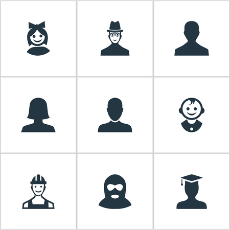 inspector: Vector Illustration Set Of Simple Avatar Icons. Elements Job Man, Woman User, Spy And Other Synonyms Spy, Felon And Business.