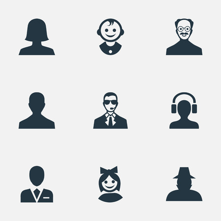 Vector Illustration Set Of Simple Avatar Icons. Elements Workman, Male User, Woman User And Other Synonyms Workman, Bodyguard And Whiskers.