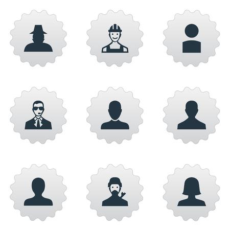 벡터 일러스트 레이 션 간단한 인간의 아이콘의 집합입니다. 요소 내부자, 초상화, 신비한 남자와 다른 동의어 노동자, 비즈니스 및 여성.