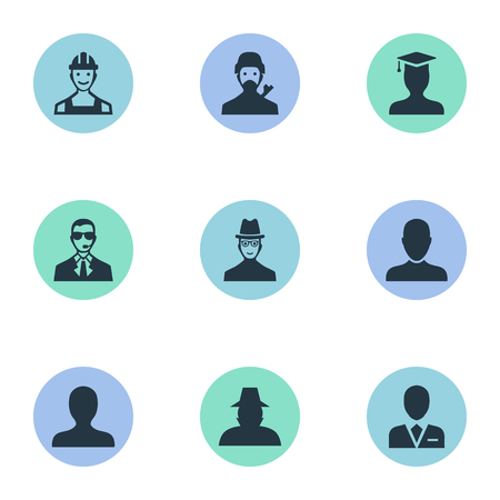Vector Illustration Set Of Simple Member Icons. Elements Postgraduate, Portrait, Proletarian And Other Synonyms Worker, Bodyguard And Profile.