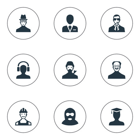 Vector Illustration Set Of Simple Avatar Icons. Elements Whiskers Man, Proletarian, Mysterious Man And Other Synonyms Felon, Proletarian And Bodyguard.