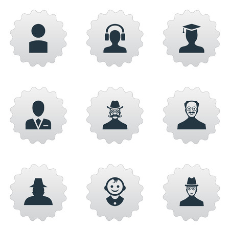 Vector Illustration Set Of Simple Avatar Icons. Elements Male With Headphone, Moustache Man, Postgraduate And Other Synonyms Hat, Member And Mustaches.