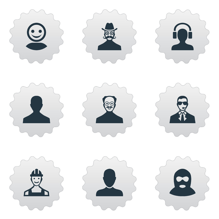 earpiece: Vector Illustration Set Of Simple Avatar Icons. Elements Whiskers Man, Male User, Proletarian And Other Synonyms Avatar, Business And Engineer.