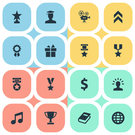 Vector Illustration Set Of Simple Awards Icons. Elements Avatar, Money, Medal And Other Synonyms Graduate, Movie And Trophy.
