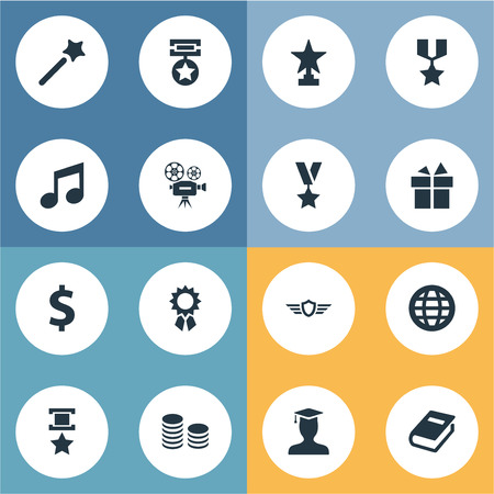 Vector Illustration Set Of Simple Awards Icons. Elements Present, Miracle, Literature And Other Synonyms Medallion, Conquering And Graduate.