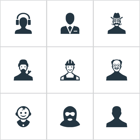 earpiece: Vector Illustration Set Of Simple Human Icons. Elements Moustache Man, Male With Headphone, Mysterious Man And Other Synonyms Young, Culprit And Whiskers. Illustration