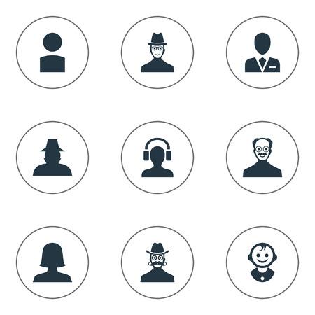 벡터 일러스트 레이 션 간단한 아바타 아이콘의 집합입니다. 성분 내부자, 여자 사용자, 콧수염 남자 및 다른 동의어 사용자, 남성 및 형사.