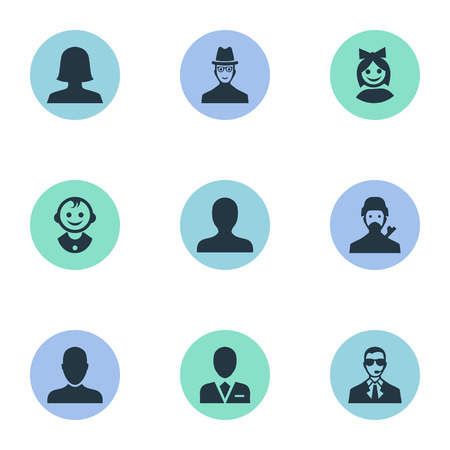 Vector Illustration Set Of Simple Member Icons. Elements Spy, Young Shaver, Bodyguard And Other Synonyms Hat, Mysterious And Avatar.