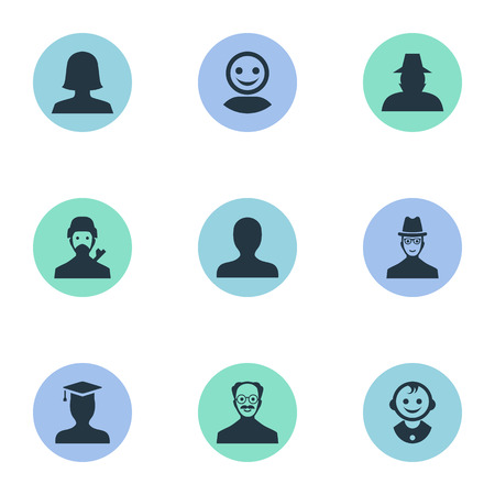 Vector Illustration Set Of Simple Member Icons. Elements Mysterious Man, Internet Profile, Spy And Other Synonyms User, Mustaches And Personal. Ilustração