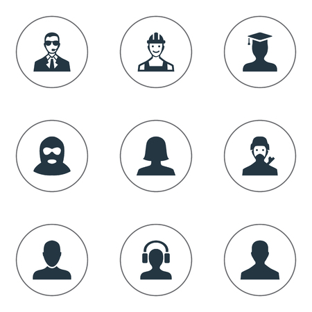 Vector Illustration Set Of Simple Member Icons. Elements Mysterious Man, Postgraduate, Job Man And Other Synonyms Man, Student And Graduate.