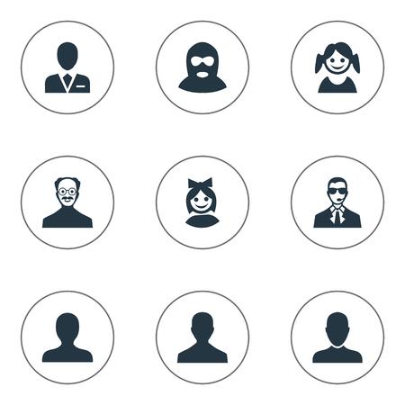 Vector Illustration Ensemble d'icônes simples Avatar. Elements Whiskers Man, visage de jeune fille, utilisateur masculin et autres synonymes Petit, fille et ouvrier. Banque d'images - 74063896