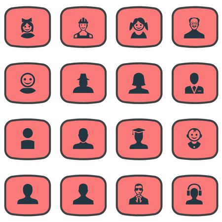 Illustration vectorielle définie des icônes simples d'avatar. Elements Workman, Proletarian, Portrait And Other Synonymes écouteurs, avatar et inspecteur. Banque d'images - 74063899