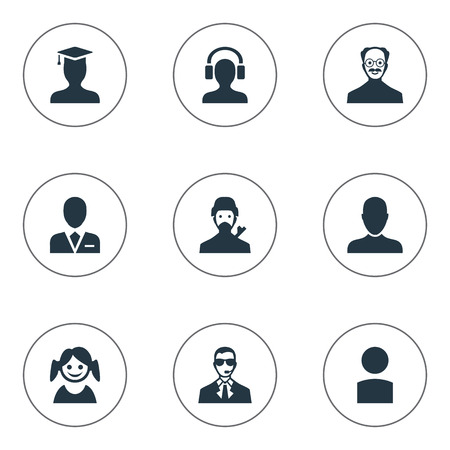Vector Illustration Set Of Simple Avatar Icons. Elements Mysterious Man, Job Man, Postgraduate And Other Synonyms Girl, Member And Graduate.