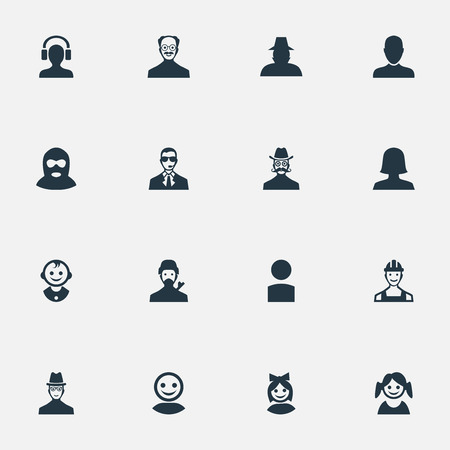 Vector Illustration Set Of Simple Human Icons. Elements Felon, Little Girl, Proletarian And Other Synonyms Girl, Detective And Mustache.