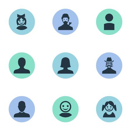 벡터 일러스트 레이 션 간단한 아바타 아이콘의 집합입니다. 요소 직업 남자, 인터넷 프로필, 내부자 및 다른 동의어 인터넷, 비즈니스 및 사용자.