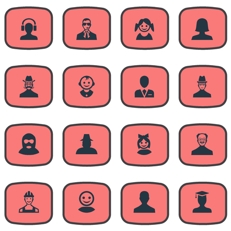 Vector Illustration Set Of Simple Member Icons. Elements Moustache Man, Postgraduate, Internet Profile And Other Synonyms Male, Internet And Spy. Illustration