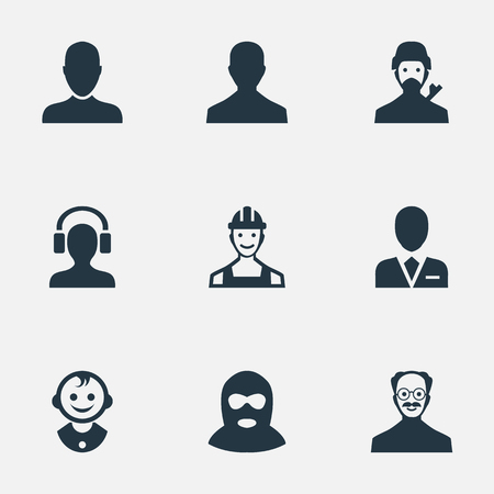 Vector Illustration Set Of Simple Human Icons. Elements Young Shaver, Workman, Male User And Other Synonyms Mustaches, Workman And Proletarian.