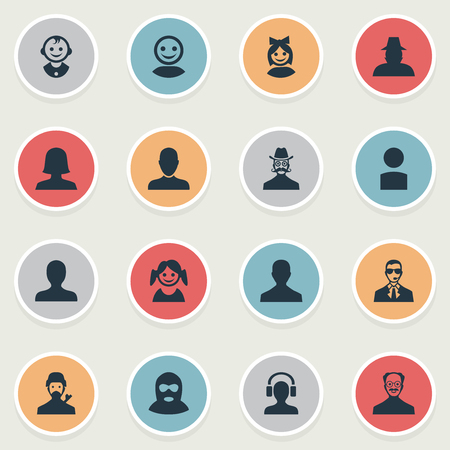 Vector Illustration Set Of Simple Member Icons. Elements Little Girl, Male User, Insider And Other Synonyms Insider, Worker And Face.