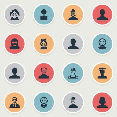 Vector Illustration Set Of Simple Avatar Icons. Elements Male User, Bodyguard, Spy And Other Synonyms Spy, Member And Mustache. Illustration