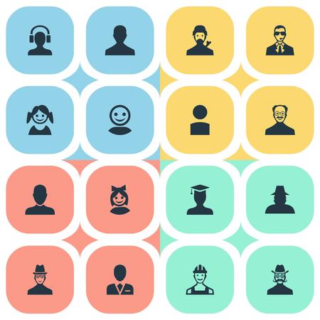 벡터 일러스트 레이 션 간단한 인간의 아이콘의 집합입니다. 요소 인터넷 프로필, 프롤레타리아, 내부자 및 기타 동의어 남자, 프로필 및 웹.