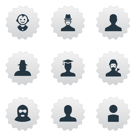 delinquent: Vector Illustration Set Of Simple Avatar Icons. Elements Spy, Portrait, Agent And Other Synonyms User, Detective And Inspector.
