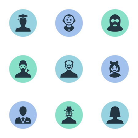 Vector Illustration Set Of Simple Human Icons. Elements Felon, Moustache Man, Workman And Other Synonyms Business, Culprit And Young.