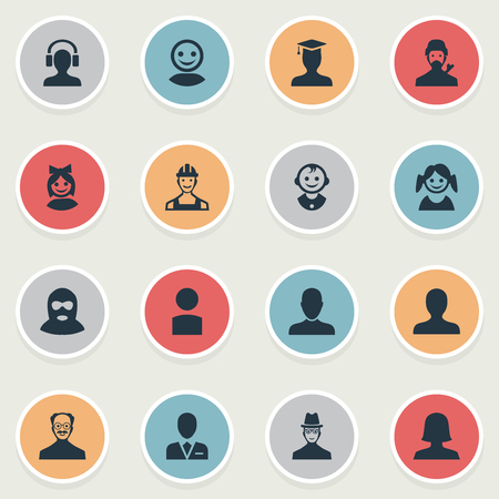 Vector Illustration Set Of Simple Member Icons. Elements Postgraduate, Girl Face, Felon And Other Synonyms Proletarian, Small And Profile. Illustration
