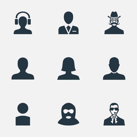 벡터 일러스트 레이 션 간단한 인간의 아이콘의 집합입니다. 요소 내부자, 중죄, 콧수염 맨 및 기타 동의어 비즈니스, 범인 및 아바타.
