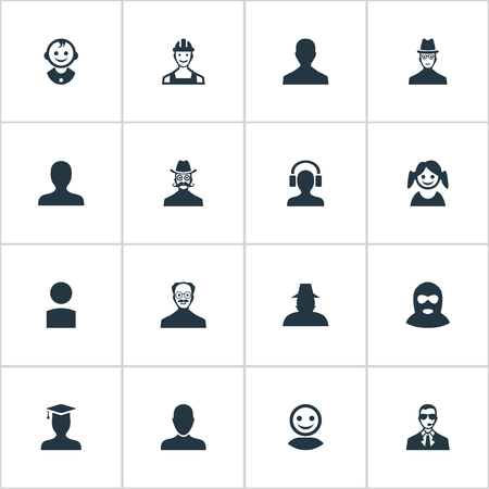 delinquent: Vector Illustration Set Of Simple Member Icons. Elements Portrait, Male User, Young Shaver And Other Synonyms Headphone, Proletarian And Security.