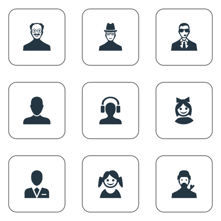 Vector Illustration Set Of Simple Avatar Icons. Elements Workman, Job Man, Bodyguard And Other Synonyms Business, Spy And Male.