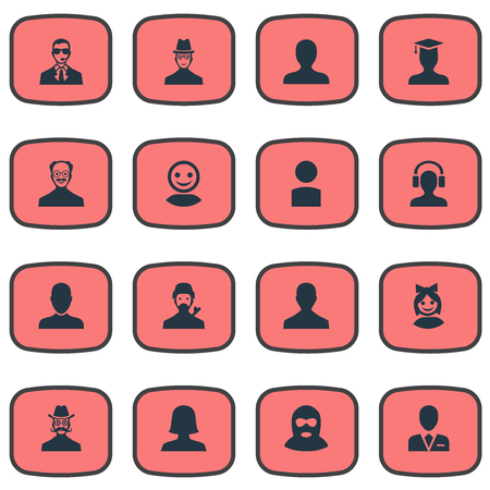 Vector Illustration Set Of Simple Member Icons. Elements Portrait, Internet Profile, Job Man And Other Synonyms Felon, Student And Girl.