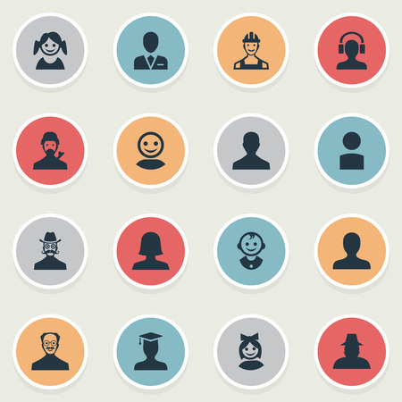 Vector Illustration Set Of Simple Human Icons. Elements Insider, Mysterious Man, Postgraduate And Other Synonyms Worker, Girl And Engineer.