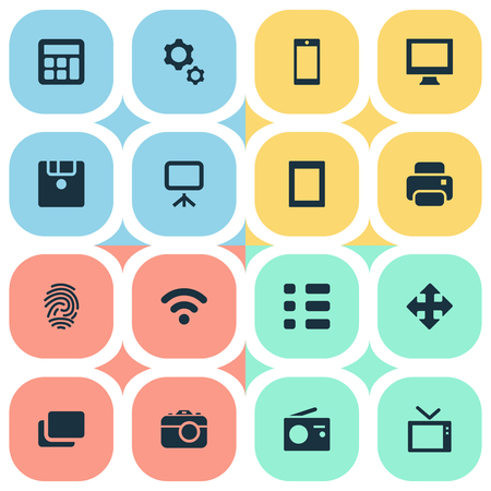 Vector Illustration Set Of Simple Gadget Icons. Elements Touch Computer, Photocopier, Television And Other Synonyms Phone, Wifi And Mobile. Ilustrace