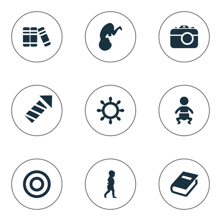 Vector Illustration Set Of Simple Child Icons. Elements Board, Start Walk, Sparkler And Other Synonyms Moments, Unborn And Photo.